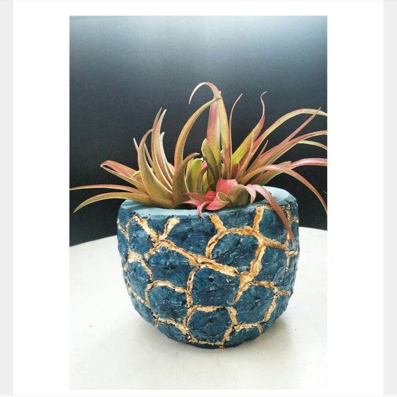 Turquoise Pineapple Planter/Pineapple Lover/Succulent Planter/Pineapple Decor/Concrete Planter/Housewarming Gift/Metallic Pineapple