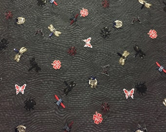 """Sequin Embroidered Lace Tulle in Black with varying """"Creepy Crawler"""" pattern of insects and Florals in Copper, Red, Blue, 3 yard piece"""