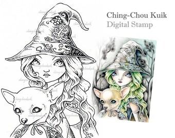 Night Wanderer - Digital Stamp Instant Download / Fantasy Art by Ching-Chou Kuik