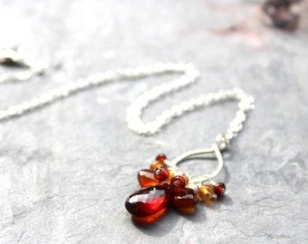 Cluster Gemstone Necklace Autumn Spessartite Garnet Sterling Silver Red Orange Rustic