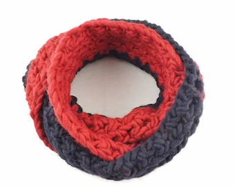 Super Chunky Infinity Scarf, Chunky Cowl, Over Sized Scarf, Blue Winter Scarf, Big Double Wrap, Winter Cowl, Wool Scarf, Knitted Scarf