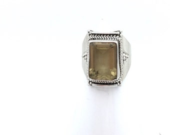 Sterling Silver and Citrine Statement Ring