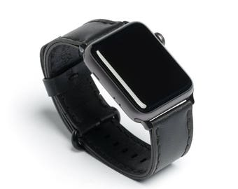 Porter - Full Grain Leather Apple Watch Band - Wickett & Craig® Black | Made in USA