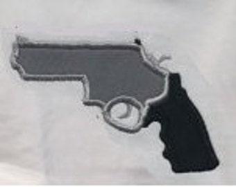 Gun Applique Pistol Revolver Embroidery Design