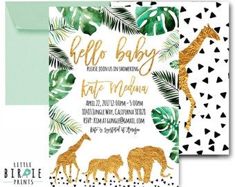 Gold JUNGLE BABY SHOWER decorations cupcake toppers Jungle