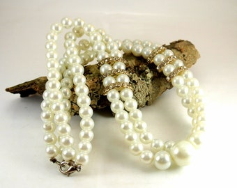 "Faux Pearl and Rhinestone Two Strand Necklace Vintage Necklace 18 Inch Necklace White Pearl Necklace Pearl Necklace Pearl 18"" Necklace"