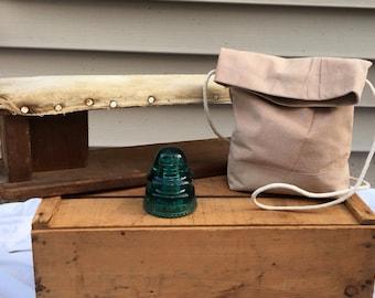 Light Pink Suede Crossbody Field Bag