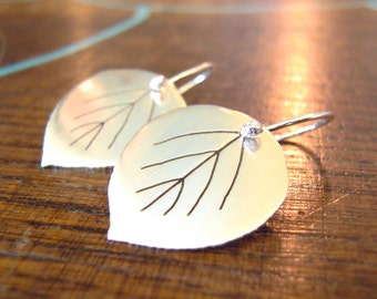 Silver leaf earrings, aspen leaf earrings, dangly earrings, choice of 1/2 inch or 3/4 inch, satin smooth shiny finish.