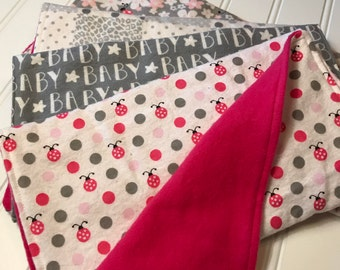 Flannel Cotton Burp cloth Set, Pink & Gray Ladybugs, burp rag set, baby girl burp cloths, baby shower, gift, burpcloths, baby girl gift set