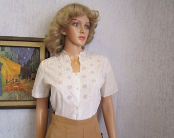 50s L 46 Embroidered Cotton S/S BLOUSE Top White