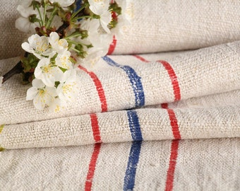 S 63: antique, linen by the yard;ready made TABLERUNNER; BLUE and RED stripes;리넨,  ready handsewn 2.95 yard, vintage linens long