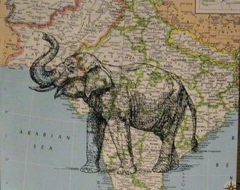 "Elephant on Vintage Map of India Print - 8"" x 10"""