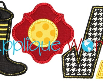 Love Firefighter Applique Embroidery