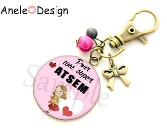 Keychain gift for pre-school girl cuddly bear - pink