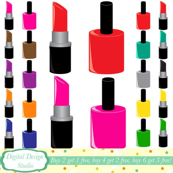 the glam pack 20 nail varnish and lipstick clip art rh etsy com  nail polish clipart images