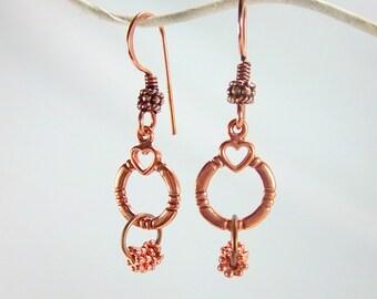 Copper Earrings, Copper Dangles, Heart Earrings, Metal Earrings, Bright Copper Earrings, Fancy Ear Wires,