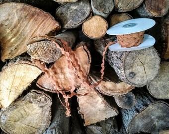 Brown zig zag ribbon, light brown ric rac ribbon, cinnamon brown zig zag trim, 5 meters/ 5.45 yards of wide, ric rac trim