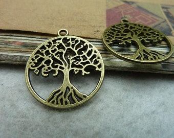 10 Tree of Life Charms Antique Bronze Charms Larger Size YTC7340