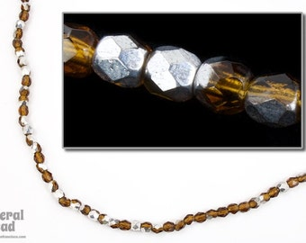 3mm Smoked Topaz/Silver Fire Polished Bead (50 Pcs)  #FPX186