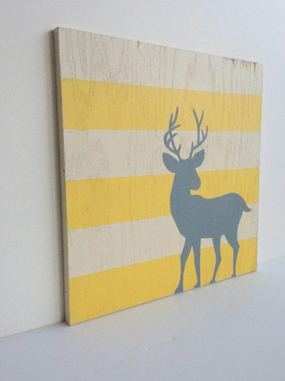 Rustic Woodland Nursery Art on Wood Yellow and Gray Nursery