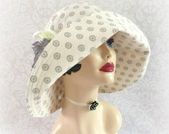 Cream Derby Hat - Wide Brimmed Hat - Summer Sun Hat - Wide Brim Derby Hat - Hat Ready to Ship - Size Small - Floppy Hat - Handmade in USA