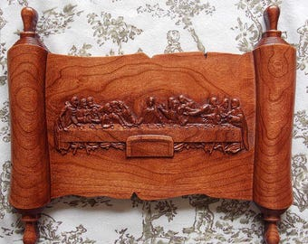"""The Last Supper - Jesus Wall Art - Religious Gift - 3D Carving - Wood Carving - Wall Decor Wood - Religious Wall Art - 12 x 10""""  Cherry Wood"""