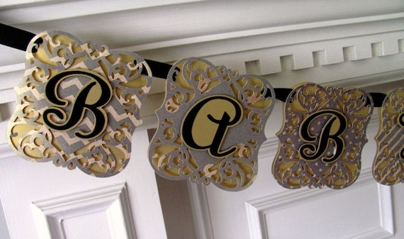 Baby Shower Banner, Gold, Black  Baby Shower Decoration, It's A Girl Banner