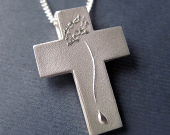 Silver Crucifix Cross, Catholic Cross, Compassion Cross Pendant with Chain, Christ Figure, Crown of Thorns, Tear