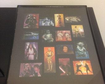 Star Wars - Framed Postage Stamp Art - Rouge One, Storm Trooper, Yoda, Darth Vader, clone wars, Star Wars gift, chubacca, Luke, r2d2, c3po