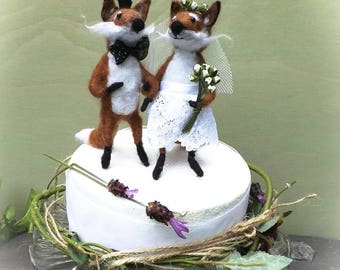 Unique wedding topper,free shipping, animal cake topper,bride and groom topper, needle felted topper,felted Valentine