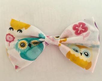 Bright owl fabric hairbow