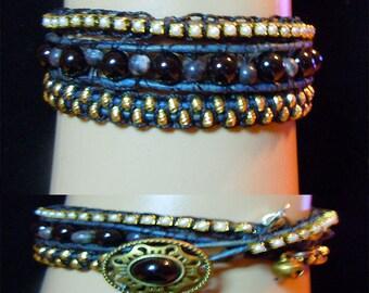 BT100 Gemstone, Leather and Cupchain Triple Wrap Bracelet