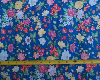 Vintage Bright Blue Floral Fabric 45 in. Wide x 35 inches 50/50 Red Yellow White Green