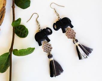 Mothers day gift, Boho chic earrings, Tassel earrings, Silver earrings, Black earrings, Elephant earrings, Boho earrings, Straight earrings