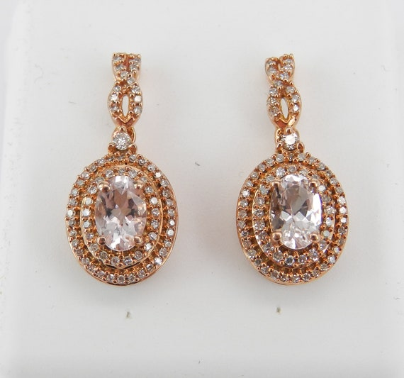 Morganite and Diamond Double Halo Earrings Rose Pink Gold Unique Gemstone Gift