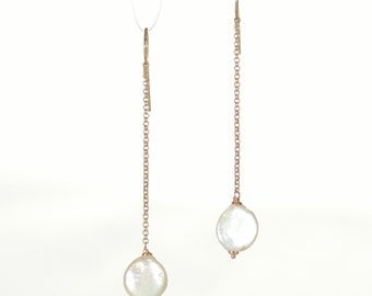 Dangling earrings silver 925 plated rose gold & Baroque Pearl of river.