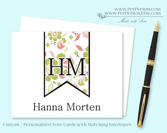 Free Ship!  Set of 12 Personalized / Custom Notecards, Boxed, Blank Inside, Banner, Flag, Pink, Green, Monogram, Name, Initials