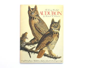 1974 The Living World of Audubon 64 of John James Audubon's Historic Hand Colored Engravings Vintage Book