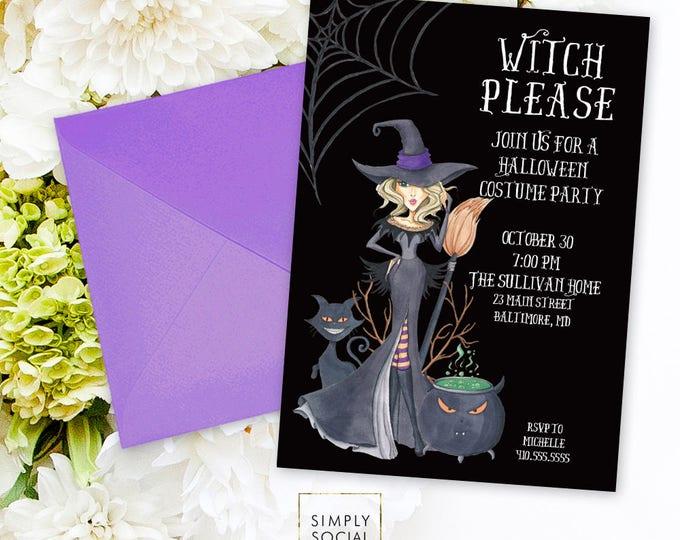 Witch Halloween Party Invitation - Witch Invitation Cauldron Black Cat Invitation Spider Web Spooky Invitation Scary Invitation Printable