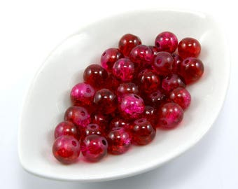 Set of 10 Burgundy crackled glass 8 mm beads