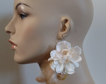 Flower Earrings, Long Earrings, Gifts for her, Bridal Jewelry, Boho Jewelry, Statement Earrings, Gifts Under 20, bridesmaid gift