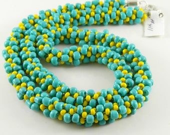Turquoise and Yellow Braided Kumihimo Necklace