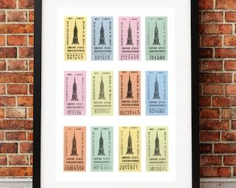 New York art print, Empire State Building print, New York inspired print, paper ephemera, New York City, ticket stubs, Manahattan print