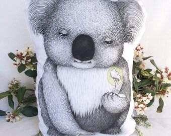 Koala Stuffie, Medium Size. Australian Animal Softie, Plush Soft Toy. Illustration by flossy-p. Muted silver back.