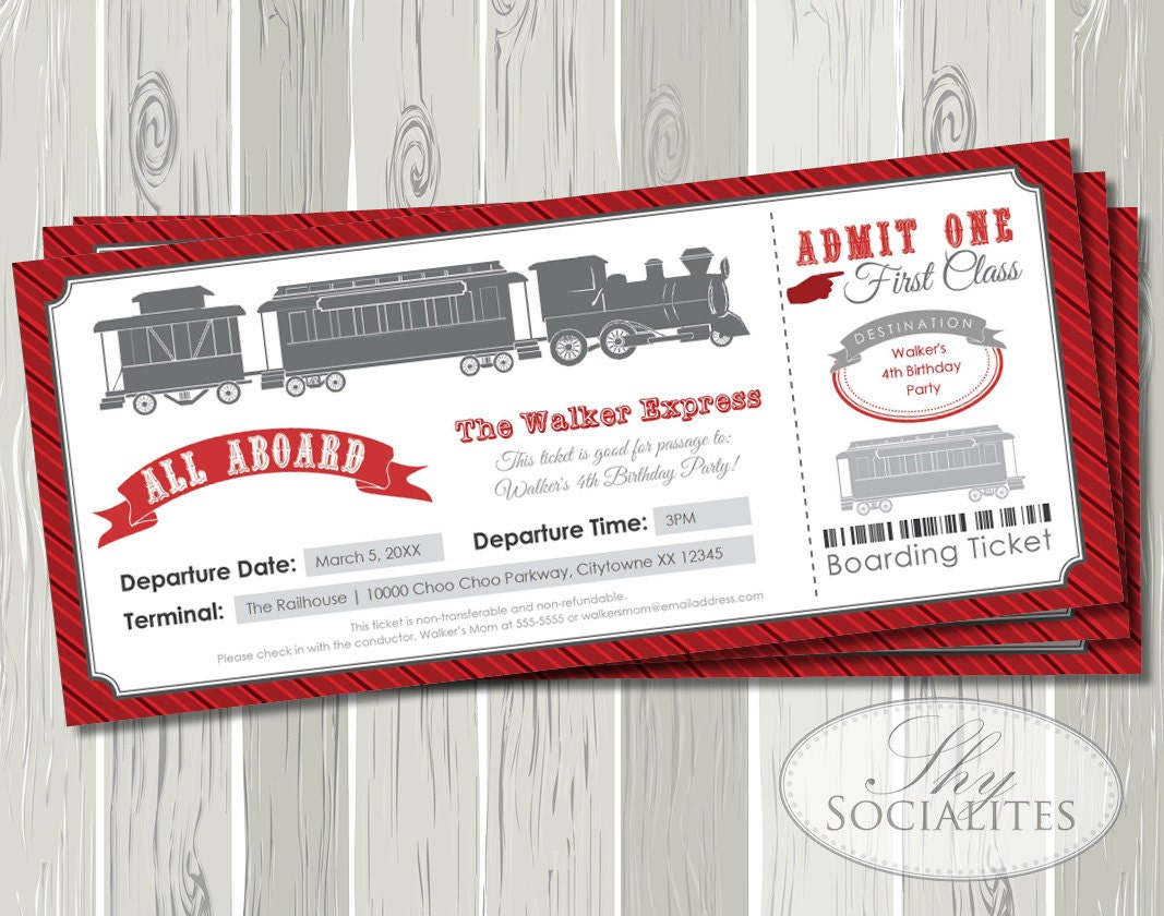 Exelent Train Party Invitation Festooning Invitation Card