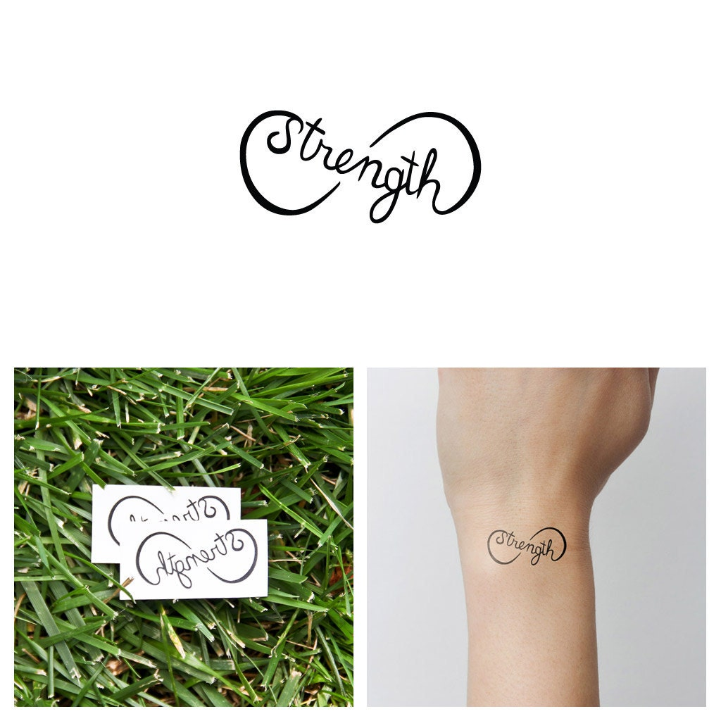 Strength symbol temporary tattoo set of 2 zoom buycottarizona Choice Image
