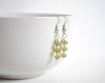 Green Swarovski Crystal Earrings - Moss Green Earrings - Casual Earrings