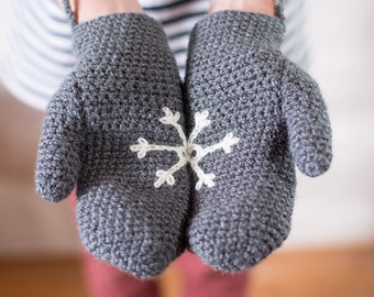 Mittens With Snowflake Design Handmade With String