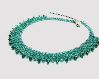 Beadwoven necklace Beaded jewelry handmade Teal seed bead necklace Bridal sparkle necklace Bridesmaid gift Wedding