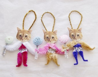 Easter Tabby Cats, Kittens,Vintage Style Chenille Ornaments, Primitive  (195)